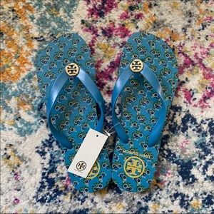 NWT Tory Burch Floral Logo Slippers